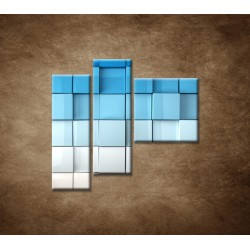 Obrazy na stenu - Modré kocky - 3dielny 110x90cm