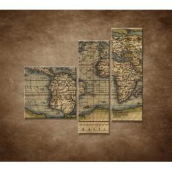 Obrazy na stenu - Antická mapa sveta r.1570 - 3dielny 110x90cm