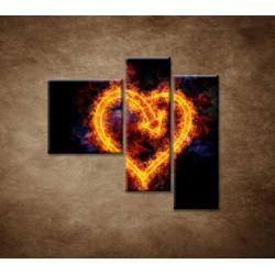 Obrazy na stenu - Ohnivé srdce - 3dielny 110x90cm