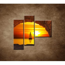 Obrazy na stenu - Plachetnica na mori - 3dielny 110x90cm
