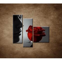 Obrazy na stenu - Žena s ružou - 3dielny 110x90cm