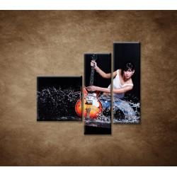 Obrazy na stenu - Gitaristka - 3dielny 110x90cm