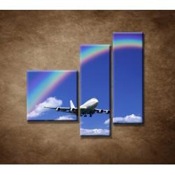Obrazy na stenu - Lietadlo s dúhou - 3dielny 110x90cm