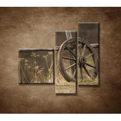 Obrazy na stenu - Staré koleso - 3dielny 110x90cm