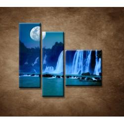 Obrazy na stenu - Nočné vodopády - 3dielny 110x90cm