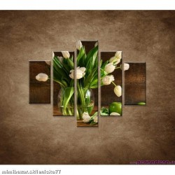 Obrazy na stenu - Tulipány vo váze - zátišie - 5dielny 100x80cm
