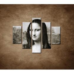 Obrazy na stenu - Čiernobiela Mona Lisa - 5dielny 100x80cm