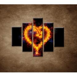 Obrazy na stenu - Ohnivé srdce - 5dielny 100x80cm