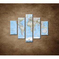 Obrazy na stenu - Politická mapa sveta - 5dielny 100x80cm