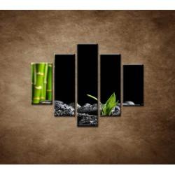 Obrazy na stenu - Čierne kamene a bambus - 5dielny 100x80cm