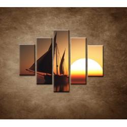 Obrazy na stenu - Západ slnka na mori - 5dielny 100x80cm