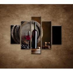 Obrazy na stenu - Fľaša červeného vína - 5dielny 100x80cm