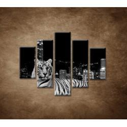 Obrazy na stenu - Mestský tiger - 5dielny 100x80cm