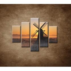Obrazy na stenu - Mlyn v hmle - 5dielny 100x80cm