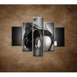 Obrazy na stenu - Nahá DJ-ka - 5dielny 100x80cm