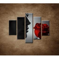 Obrazy na stenu - Žena s ružou - 5dielny 100x80cm