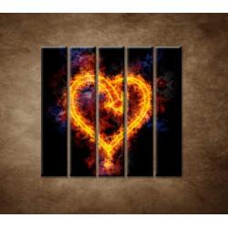 Obrazy na stenu - Ohnivé srdce - 5dielny 100x100cm