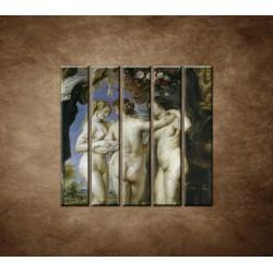 Obrazy na stenu - Reprodukcia - Rubens - Tri grácie - 5dielny 100x100cm
