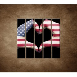 Obrazy na stenu - Amerika v srdci - 5dielny 100x100cm