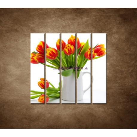 Obrazy na stenu - Červené tulipány - 5dielny 100x100cm