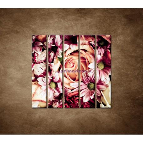 Obrazy na stenu - Kytica kvetov - 5dielny 100x100cm