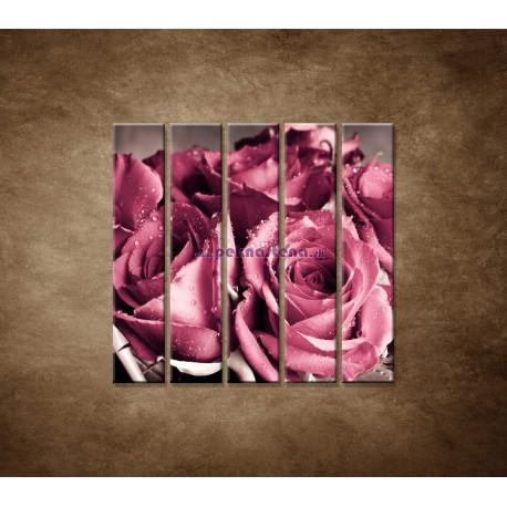 Obrazy na stenu - Kytica ruží - 5dielny 100x100cm