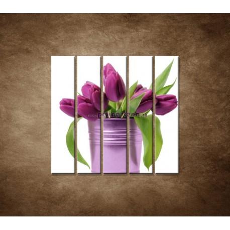 Obrazy na stenu - Svieže tulipány - 5dielny 100x100cm