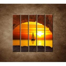 Obrazy na stenu - Plachetnica na mori - 5dielny 100x100cm
