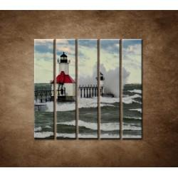 Obrazy na stenu - Maják po búrke - 5dielny 100x100cm