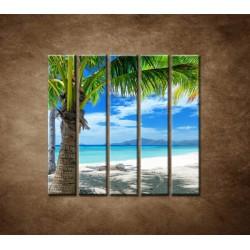 Obrazy na stenu - Pláž s palmou - 5dielny 100x100cm