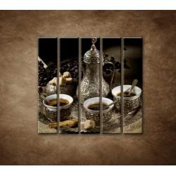 Obrazy na stenu - Kanvica kávy - 5dielny 100x100cm