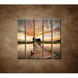 Obrazy na stenu - Západ slnka nad riekou - 5dielny 100x100cm