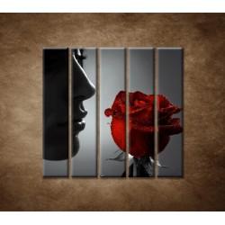 Obrazy na stenu - Žena s ružou - 5dielny 100x100cm
