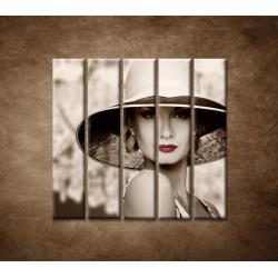 Obrazy na stenu - Žena v klobúku - 5dielny 100x100cm