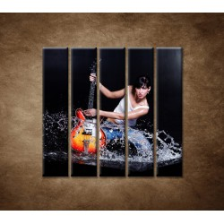 Obrazy na stenu - Gitaristka - 5dielny 100x100cm