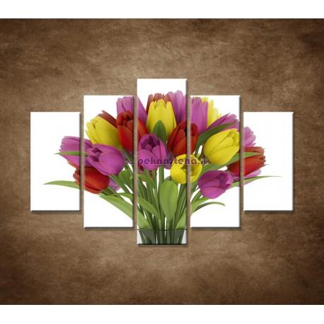 Obrazy na stenu - Tulipány vo váze - 5dielny 150x100cm