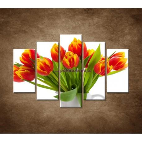 Obrazy na stenu - Červené tulipány - 5dielny 150x100cm
