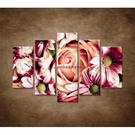 Obrazy na stenu - Kytica kvetov - 5dielny 150x100cm