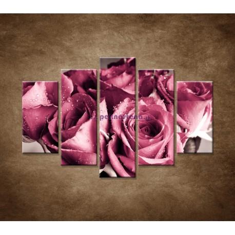 Obrazy na stenu - Kytica ruží - 5dielny 150x100cm