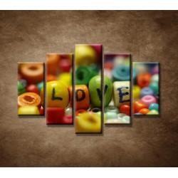 Obrazy na stenu - Love - 5dielny 150x100cm
