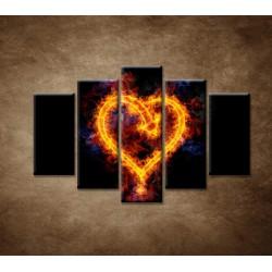 Obrazy na stenu - Ohnivé srdce - 5dielny 150x100cm