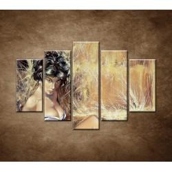 Obrazy na stenu - Maľovaná žena - 5dielny 150x100cm