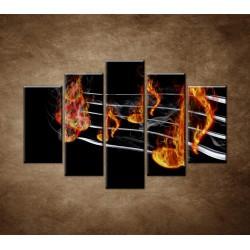 Obrazy na stenu - Noty v plameňoch - 5dielny 150x100cm