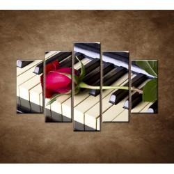 Obrazy na stenu - Ruža na klavíri - 5dielny 150x100cm
