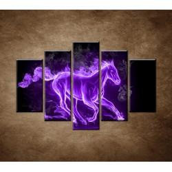 Obrazy na stenu - Fialový horiaci kôň - 5dielny 150x100cm