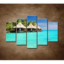 Obrazy na stenu - Chatky na mori - 5dielny 150x100cm