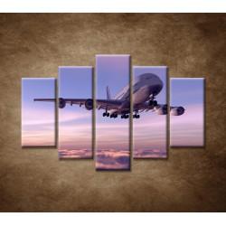 Obrazy na stenu - Lietadlo v oblakoch - 5dielny 150x100cm