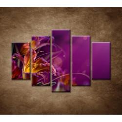 Obrazy na stenu - Fialové kvety - 5dielny 150x100cm