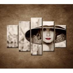 Obrazy na stenu - Žena v klobúku - 5dielny 150x100cm