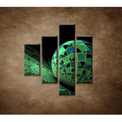 Obrazy na stenu - Abstraktná guľa - 4dielny 80x90cm